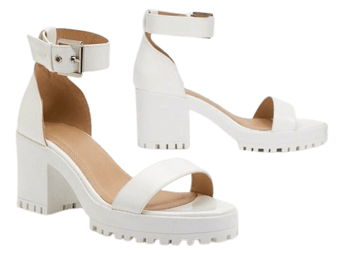 White Faux Leather Sandals with Low Block Heel | Nasty Gal