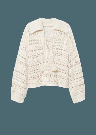 Openwork pompoms knit sweater - Women | Mango USA