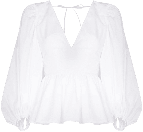 Shop white STAUD puff sleeves V-neck blouse with Express Delivery - Farfetch