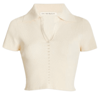 Atlas Ribbed-Knit Cropped Polo Shirt By Live The Process   Moda Operandi