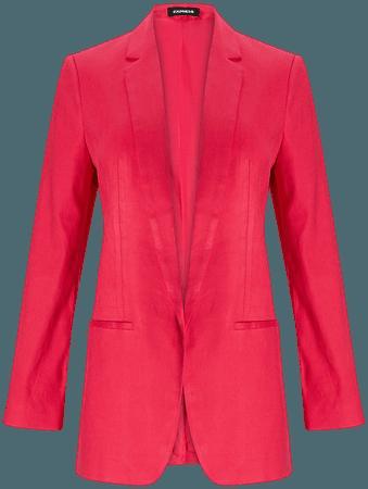 Linen-blend Notch Lapel Boyfriend Blazer   Express