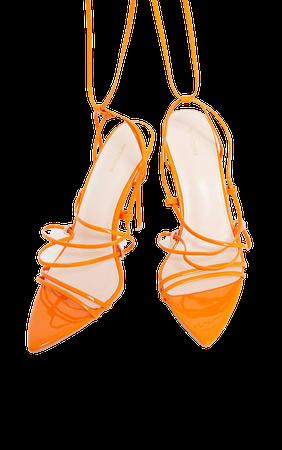 Orange Patent Strappy Gladiator Point Toe Heels | PrettyLittleThing USA