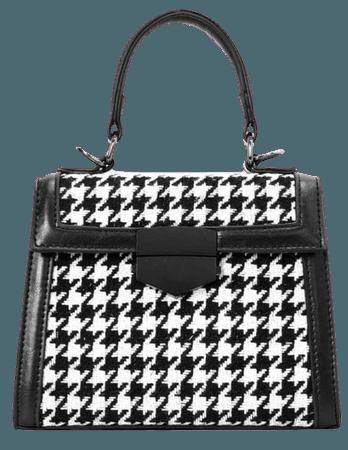 Houndstooth Flap Satchel Bag