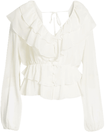GUESS Marene Ruffle Blouse | Nordstrom