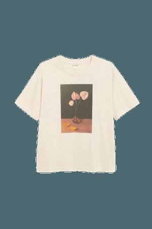 Cotton tee - Flower print - T-shirts - Monki WW