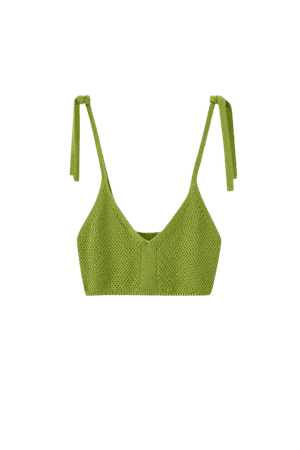 Knit bralette with tie straps - pull&bear