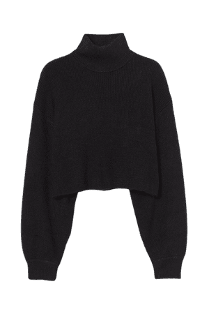 Cropped Turtleneck Sweater - Black