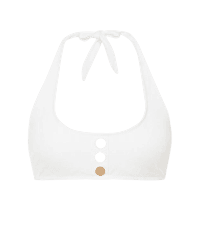 Bailey White Halter Bikini Top With Button Detail – REISS