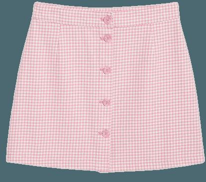 Cotton mini skirt - Pink gingham - Mini skirts - Monki WW