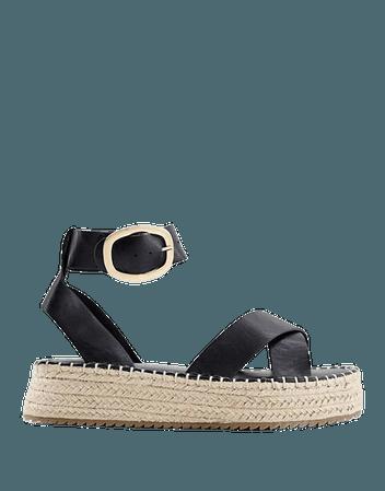 ASOS DESIGN Wide Fit Justice flatform espadrille sandals in black | ASOS