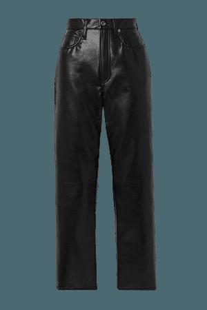 Black Leather-blend straight-leg pants | AGOLDE | NET-A-PORTER