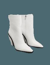 RAID Mirren heeled ankle boots in white croc | ASOS