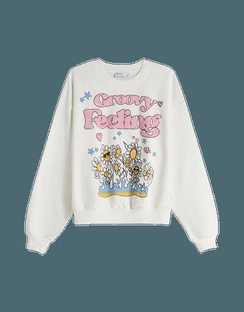 Printed sweatshirt - Sweatshirts and hoodies - Woman | Bershka