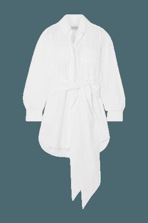Belted Stretch-cotton Poplin Mini Shirt Dress - White