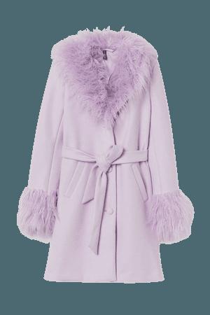 Faux Fur-trimmed Coat - Purple