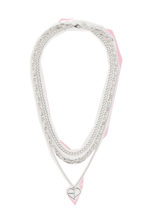 Triple-strand Necklace - Silver-colored/Blackpink - Ladies   H&M US