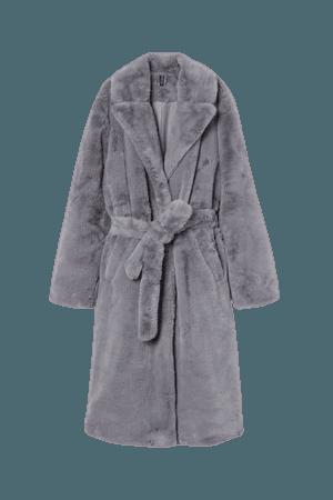 Faux Fur Coat - Dark beige - Ladies   H&M US