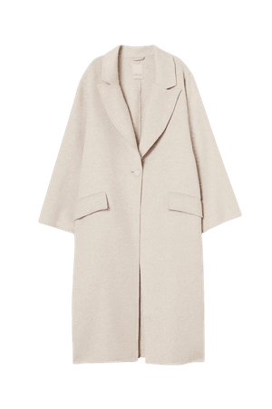 Oversized Wool-blend Coat - Beige