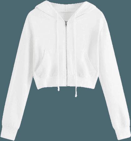 CofeeMO Crop Tops Hoodies for Women Teen Girls Casual Zip Up Long Sleeve Sweatshirt (A-White, XL) at Amazon Women's Clothing store