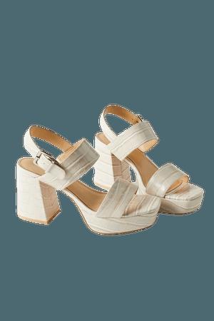 UO Rachel Croc Strappy Platform Heel   Urban Outfitters