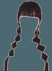 Dark Brown Hair BLACK PNG Bangs Twin Ponytail Braids