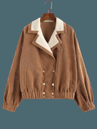 [31% OFF] 2020 ZAFUL Corduroy Teddy Collar Pocket Drop Shoulder Jacket In TIGER ORANGE   ZAFUL