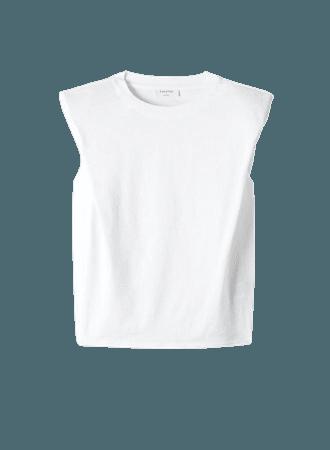 White Babaton SHOULDER PAD T-SHIRT | Aritzia US