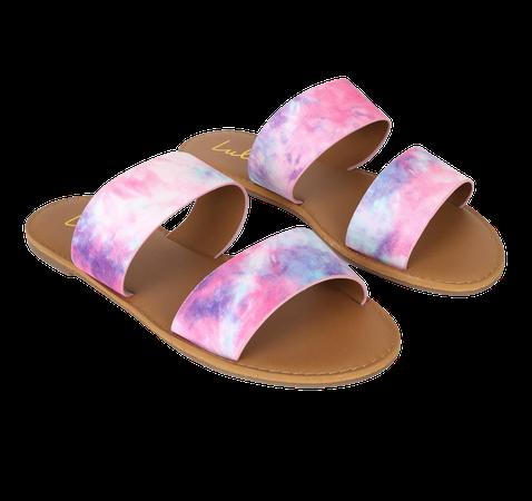 Pink Tie-Dye Sandals - Slide Sandals - Flat Sandals - Sandals - Lulus