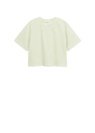 Cotton towel texture t-shirt - Women   Mango USA