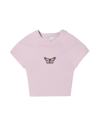 Printed short sleeve sweater with a round neckline - Tees and tops - Woman | Bershka