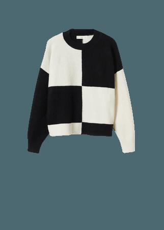Checks knitted sweater - Women | Mango USA