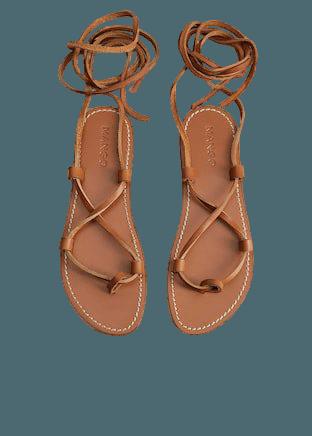 Leather strap sandals - Women | Mango USA brown