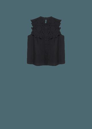 Swiss embroidery cotton blouse - Women | Mango USA