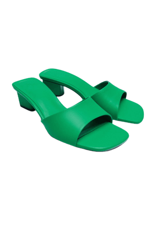 SANDAL MED BRED KLACK   ZARA Sverige / Sweden sko,vår,grön 2tr
