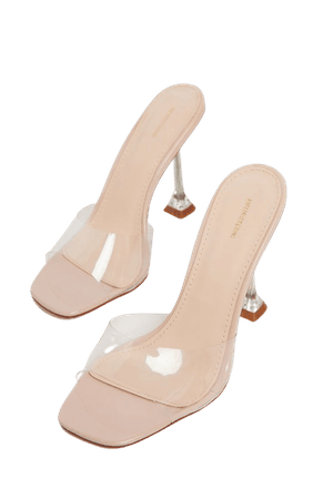 Nude Clear Heel Clear Mule Sandal | Shoes | PrettyLittleThing USA