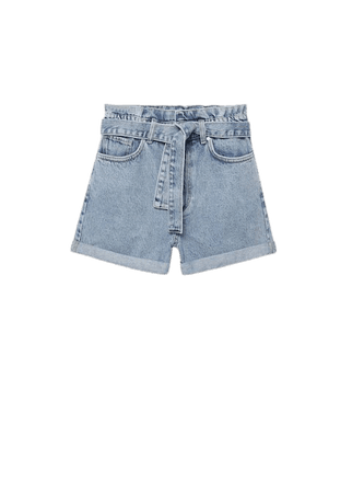 Paperbag denim shorts - Women | Mango USA