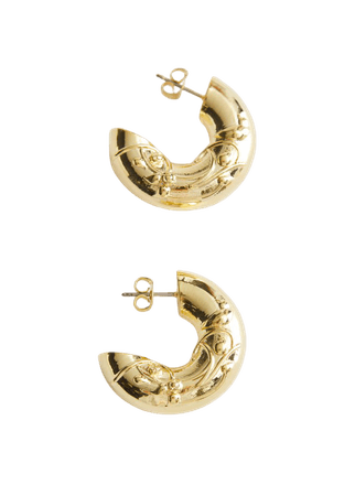 Embossed Chunky Hoop Earrings - Gold - Hoops - & Other Stories