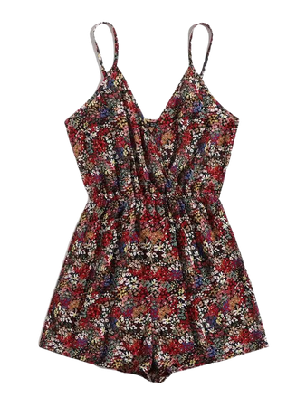 Ditsy Floral Cami Romper | SHEIN USA brown