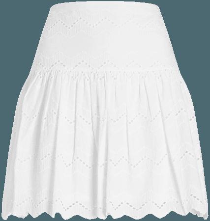 High Waisted Scalloped Eyelet Lace Mini Skirt | Express