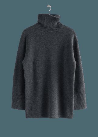 Oversized Turtleneck Knit Jumper - Dark Grey - Turtlenecks - & Other Stories