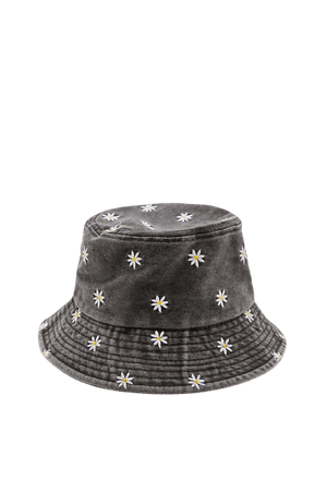 Black bucket hat with daisies - pull&bear