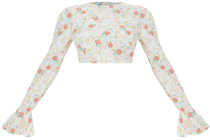 Light Pink Floral Woven Flared Hem Sleeve Crop Top | PrettyLittleThing USA