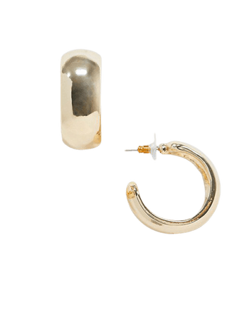 ASOS DESIGN thick hoop earrings 30mm in gold tone | ASOS