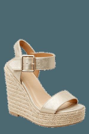 Sexy Gold Sandals - Metallic Platform Espadrille Wedges - Shoes - $36 – Red Dress