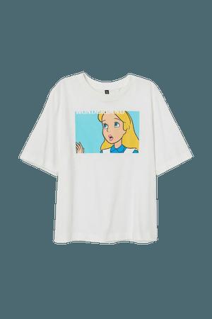 Printed T-shirt - White/Alice in Wonderland - Ladies | H&M US
