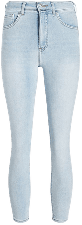 High Waisted Light Wash Cropped Skinny Jeans   Express