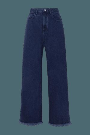 Frayed Boyfriend Jeans - Navy