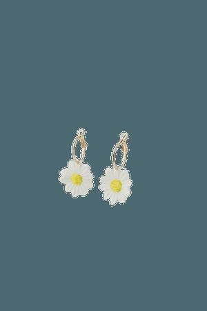 Daisy crochet hoop earrings - pull&bear