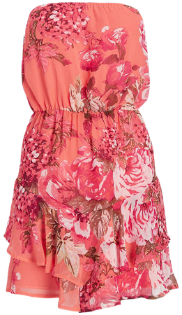 Floral Strapless Ruffle Romper | Express