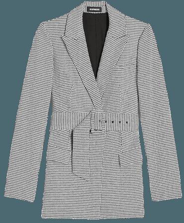 Peak Lapel Belted Houndstooth Blazer | Express